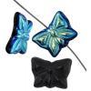 Glass Bead Butterfly 15x12mm Black Aurora Borealis - Strung Top Hole